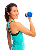 Pretty woman with dumbbells Stock Photo