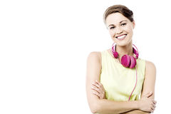 Pretty woman with ear phones Stock Photography