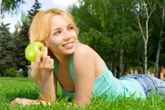 Pretty woman eating Royalty Free Stock Photos