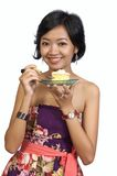 Pretty Woman Eating Cake with Fork Stock Photo