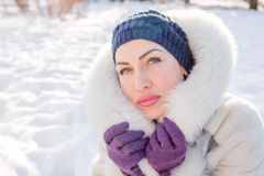 Pretty woman in elegant winter outfit Stock Images