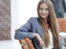 Pretty woman employee of the company Stock Image