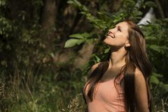 Pretty woman enjoying nature Stock Photography