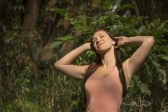 Pretty woman enjoying nature Royalty Free Stock Photo