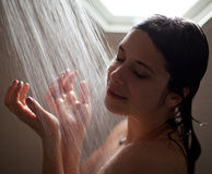Pretty Woman Enjoying Shower Royalty Free Stock Photo