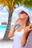 Pretty woman enjoying summer vacation stock photo