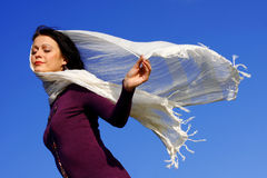 Pretty woman enjoying the wind Royalty Free Stock Photography