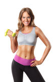 Pretty woman exercising with dumbbells Stock Photography