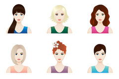 Pretty woman faces set, vector. Illustration set of beautiful girl faces with different hairstyle, vector Stock Photo