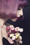 Pretty Woman with Fashion Hairstyle. Purple Coloring Hair royalty free stock images