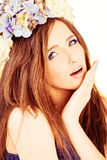 Pretty Woman Fashion Model. Beautiful Ripple Hairstyle Stock Photo