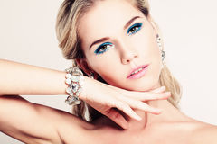 Pretty Woman Fashion Model with Makeup Royalty Free Stock Images