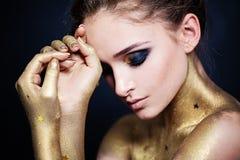 Pretty Woman Fashion Model. Smokey Eyes Makeup. Pretty Woman Fashion Model. Smokey Eyes Make-up royalty free stock photo