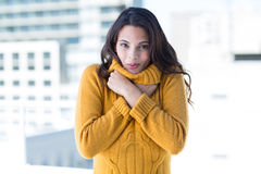 Pretty woman feeling cold Stock Image