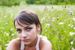 Pretty woman in field Stock Images