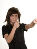 Pretty woman fighting Royalty Free Stock Photo