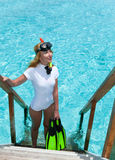 Pretty woman with flippers, mask and tube. Maldives Royalty Free Stock Images