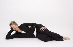 Pretty Woman on Floor Royalty Free Stock Photography
