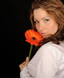 Pretty woman with flower Royalty Free Stock Photo