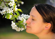 Pretty woman with flower Royalty Free Stock Image
