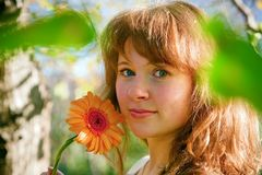 Pretty Woman And Flower In Spring Royalty Free Stock Photo