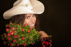 Pretty Woman with Flowers Stock Photos