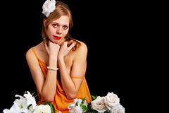 Pretty woman with flowers Royalty Free Stock Images