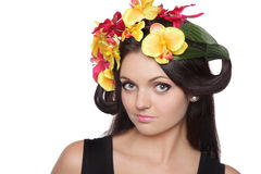 Pretty woman with flowers on head Royalty Free Stock Images