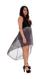 Pretty woman with flying dress. Stock Photos