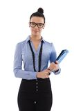 Pretty woman with folders smiling Stock Photography