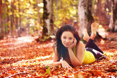 Pretty woman in the forest Royalty Free Stock Images