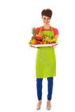 Pretty woman with fresh fruit Royalty Free Stock Photos