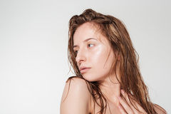 Pretty woman with fresh skin looking away Royalty Free Stock Photos