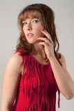 Pretty Woman in Fringed Red Top Royalty Free Stock Images