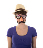 Pretty woman with funny mask and hat Royalty Free Stock Image