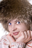 Pretty woman in fur hat Royalty Free Stock Photos