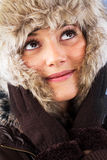 Pretty woman with fur hat Royalty Free Stock Photos