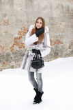 Pretty woman in fur in winter snow Stock Photos