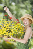 Pretty woman gardener Royalty Free Stock Image