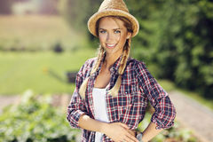 Pretty woman gardening. Picture of pretty woman gardening royalty free stock photo