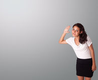 Pretty woman gesturing with copy space Stock Photo