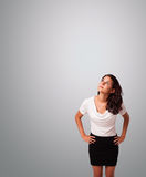Pretty woman gesturing with copy space Stock Image