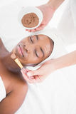 Pretty woman getting a chocolate facial treatment Royalty Free Stock Images