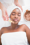 Pretty woman getting a chocolate facial treatment Stock Photography