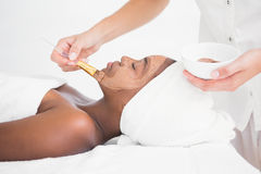 Pretty woman getting a chocolate facial treatment Royalty Free Stock Photography
