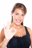 Pretty Woman Gives Okay Sign Royalty Free Stock Photo