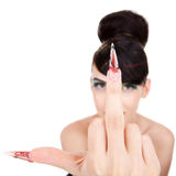 Pretty woman giving you the finger Royalty Free Stock Photos