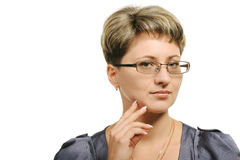 The pretty woman in glasses Stock Images