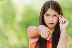 Pretty woman with glasses Stock Photo