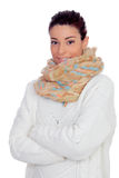 Pretty woman with gloves and scarf Royalty Free Stock Photos